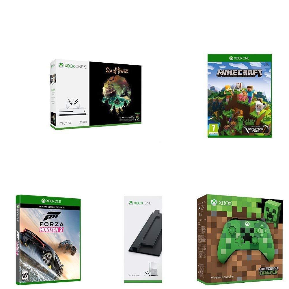 Xbox One S - Consola de 1 TB + Sea Of Thieves + Minecraft Explorer + Mando Inalámbrico Minecraft + Soporte Vertical + Forza Horizon 3 imagen