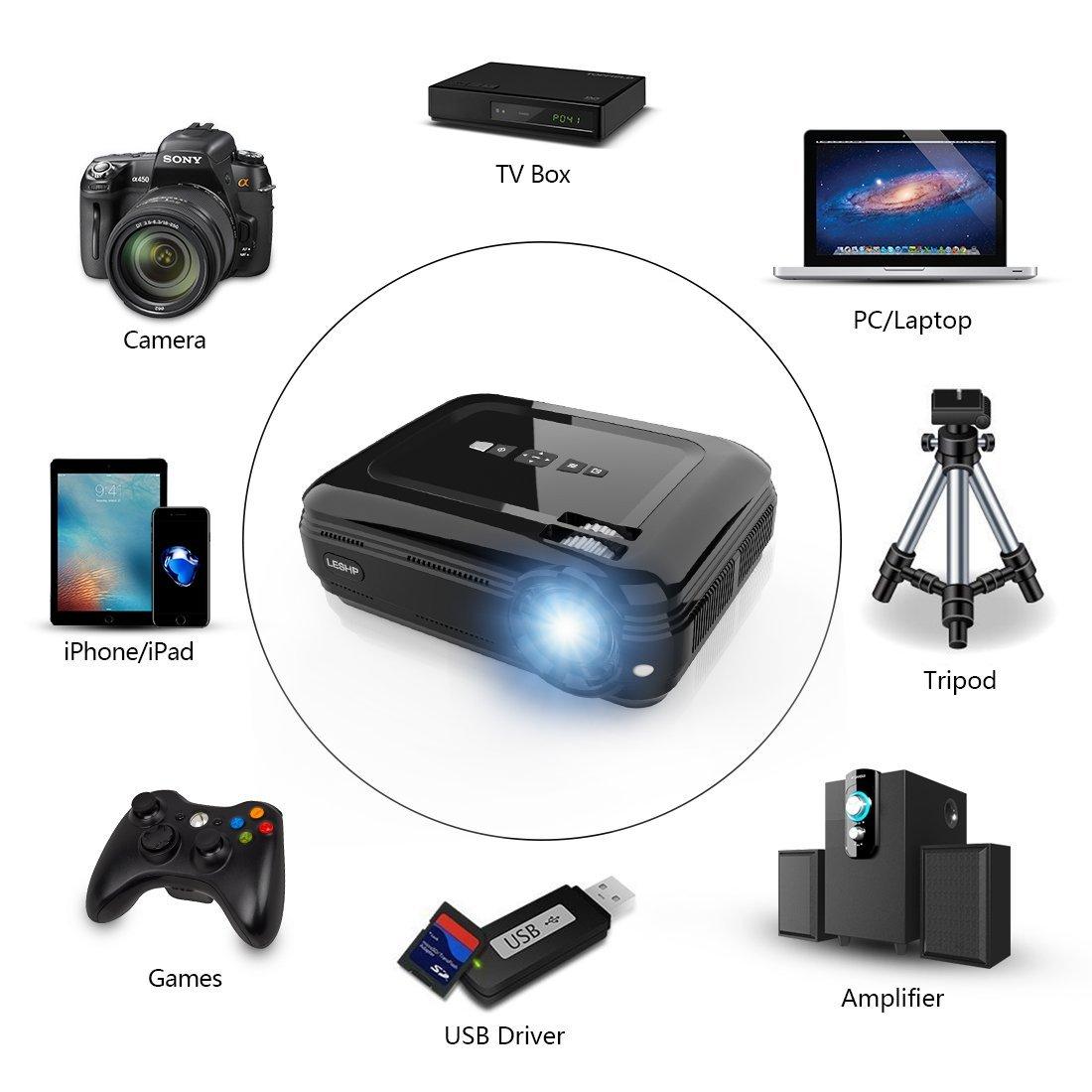 LESHP Proyector Cine en Casa LCD Full HD 3200 imagen