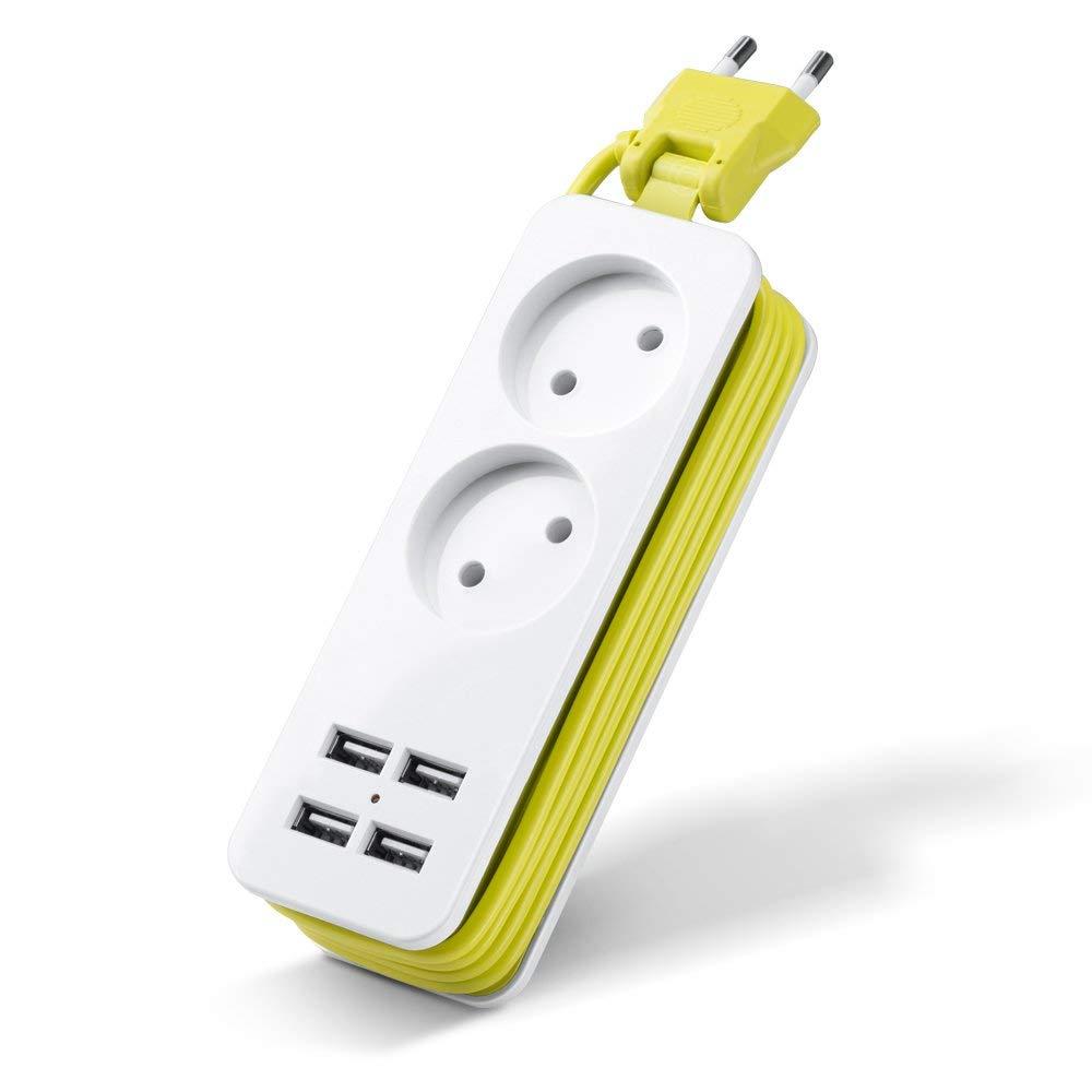 Wonyered Multificional Regleta Enchufes con 2 Tomas Corrientes y 4 USB Tomas Alargadora Cable de 1.5m 1200W/10A imagen