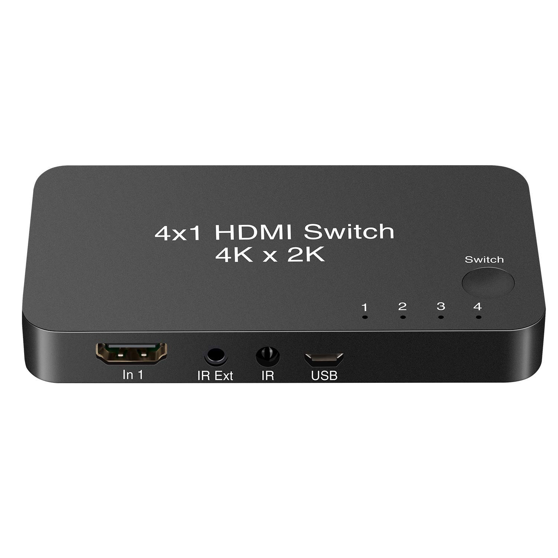 HDMI Switcher 4 Entradas 1 Salida Interruptor Box V2.0 con IR Soporte Remoto Inalámbrico imagen