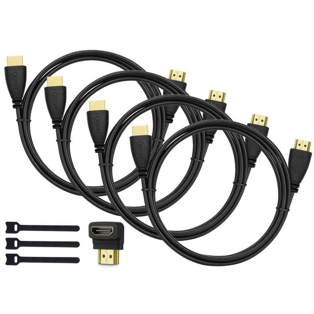 Pack de 4 cables HDMI de alta velocidad, con adaptador de 90 grados y bridas imagen