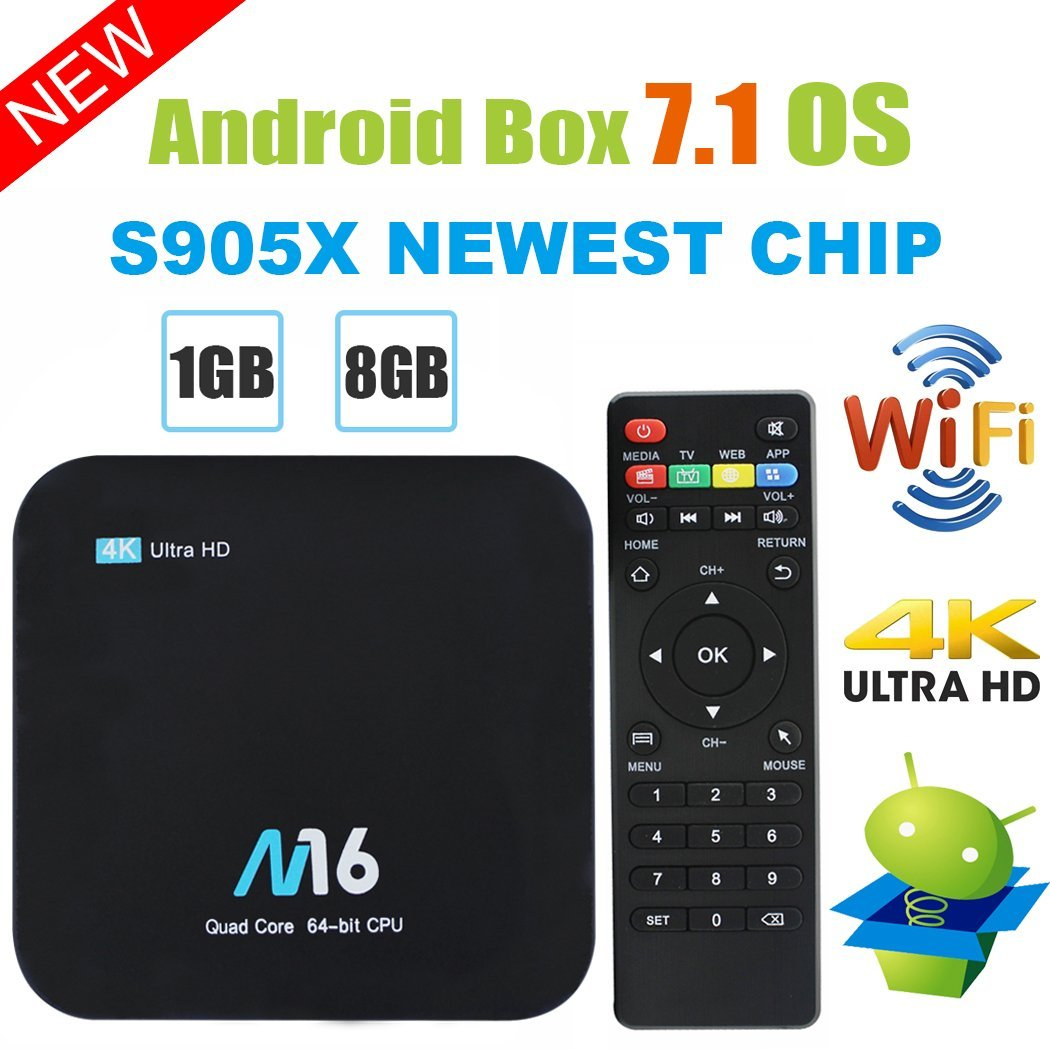 TV Box Android 7.1 - Quad Core, 1GB/8GB, 4K/2K/UHD, HDMI, USB, 2.4GHz WiFi imagen