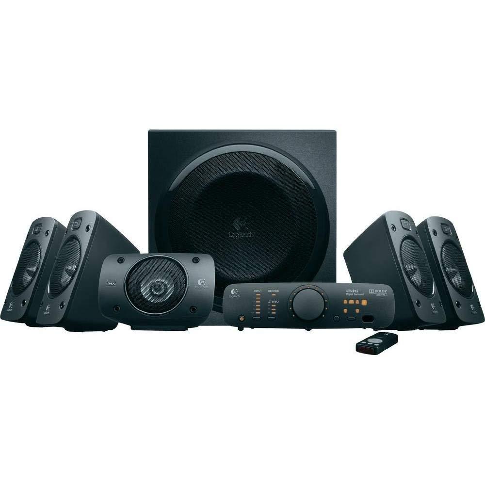 Logitech Z906 - Sistema de altavoces 5.1 con sonido envolvente, 500 W, mando inalámbrico, DVD, Blu-ray, color negro imagen