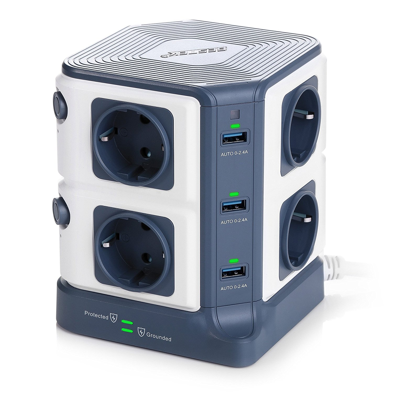 BESTEK 1500J Torres Regleta Enchufes de 8 Tomas UE y 4 Rapida USB imagen