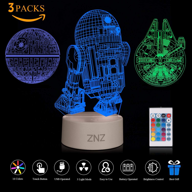 3D LED Star Wars Luz de noche, Death Star + R2-D2 + Millennium Falcon imagen