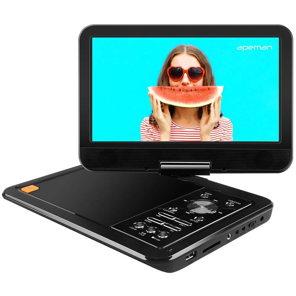 APEMAN 10.5 pulgadas Reproductor de DVD Portátil para el Coche Con Pantalla Giratoria (Tarjeta SD/USB/CD/DVD) imagen