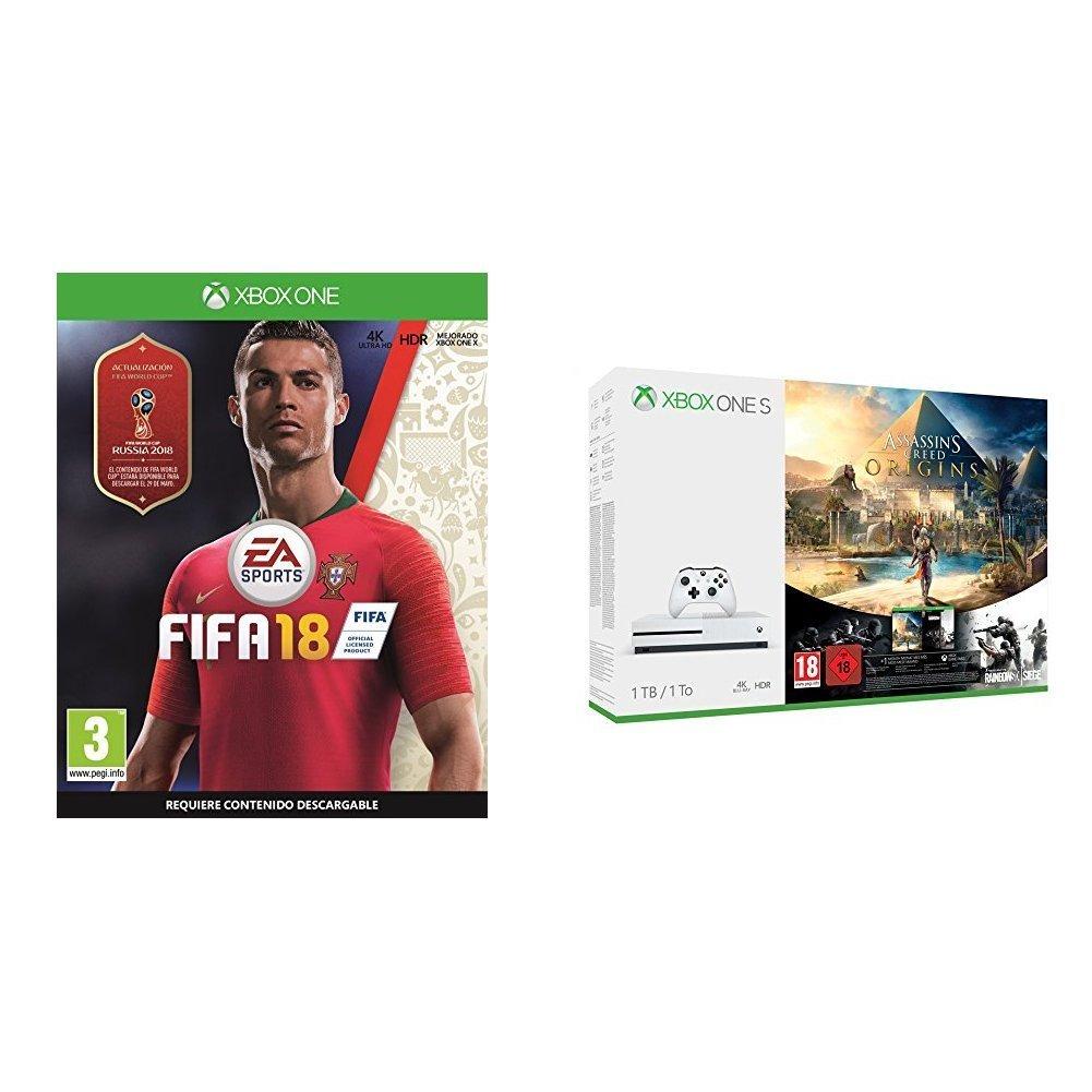 Xbox One S (1 TB) + FIFA 18 + Assassin's Creed Origins + Tom Clancy's Rainbow Six Siege imagen