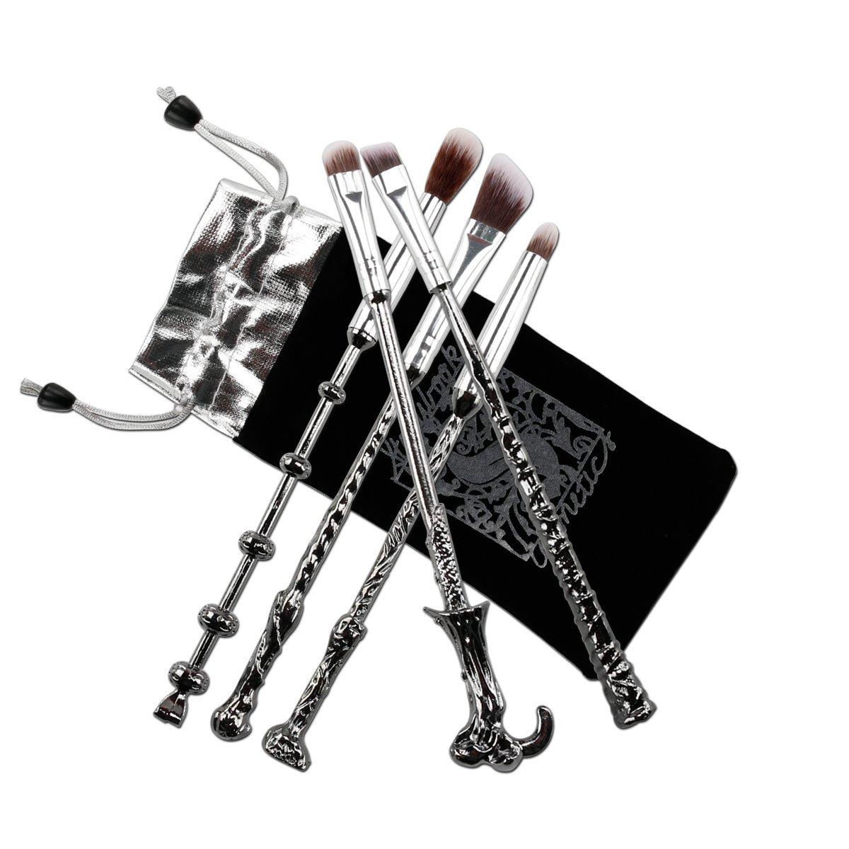 Pinceles Maquillaje,Chacca Kit Pinceles de Maquillaje 5 piezas, forma de Varita Mágica Look de Fantasía Harry Potter con Cerdas finas, Negro Plateado imagen